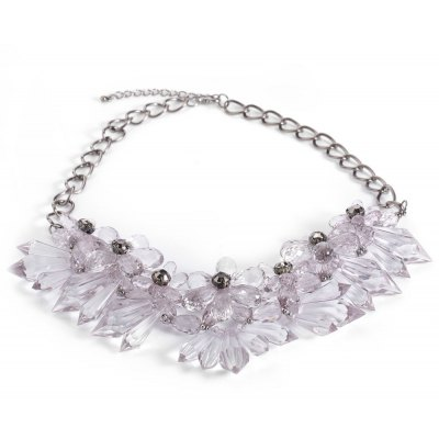 Chic Crystal Flowers Cluster Chunky Choker Party Jewelry for Lady