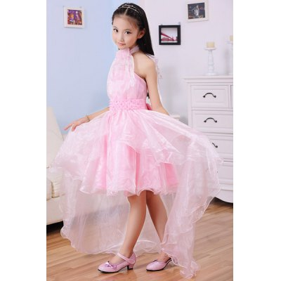 Sweet Sleeveless Halter Neck Beaded High Low Solid Color Girl's Princess Dress