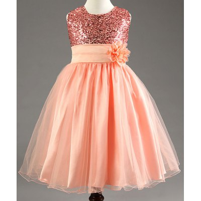 Sweet Sleeveless Round Neck Sequin Embellished Flower Girl's Princess Dress