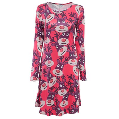 Round Collar Long Sleeve Deer Print A-Line Women Christmas Swing Dress