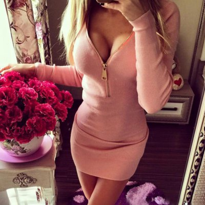 Sexy Plunging Neck Long Sleeve Zippered Pure Color Bodycon Ladies Dress