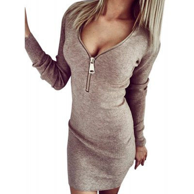 Plunging Neck Long Sleeve Zippered Pure Color Bodycon Ladies Dress