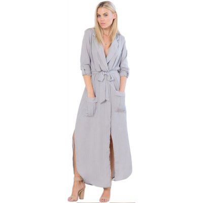 Fashion Women Sexy Split Long Sleeve Tunic Chiffon Maxi Dress