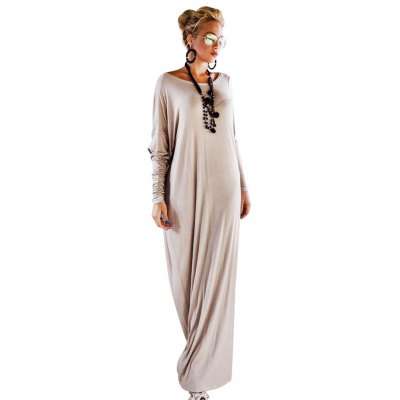 Scoop Collar Long Sleeve Pure Color Loose-Fitting Formal Dress for Women