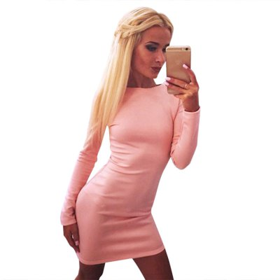 Sexy Jewel Neck Long Sleeve Pure Color Zippered Bodycon Ladies Mini Dress