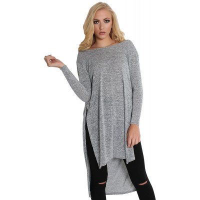 Stylish Scoop Collar Long Sleeve Pure Color Backless Loose-Fitting Ladies Dress