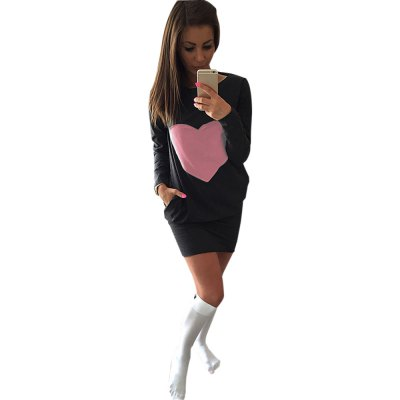 Stylish Round Collar Long Sleeve Heart Print Bodycon Ladies Mini Dress