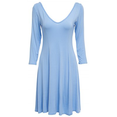 V-Neck 3/4 Sleeve Pure Color Backless A-Line Dress For Women