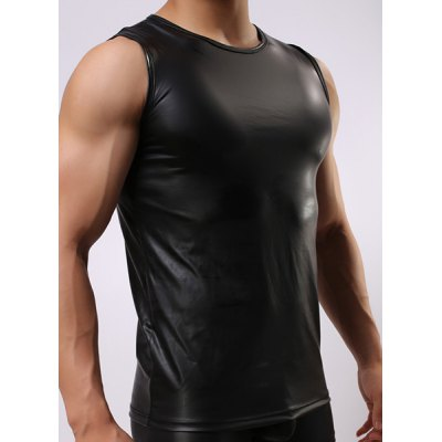 Round Neck Sexy Close-Fitting Sleeveless Mens PU-Leather Tank TopMens Underwear &amp; Pajamas<br>Round Neck Sexy Close-Fitting Sleeveless Mens PU-Leather Tank Top<br><br>Material: Cotton,Faux Leather,Polyester<br>Pattern Type: Solid<br>Weight: 0.220kg<br>Package Contents: 1 x Tank Top
