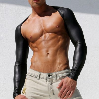 Solid Color Long Sleeve Mesh Splicing PU-Leather Men's Oversleeve