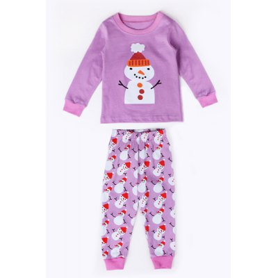 Round Neck Long Sleeve Christmas Snowman Print T-Shirt + Pants Kid's Twinset