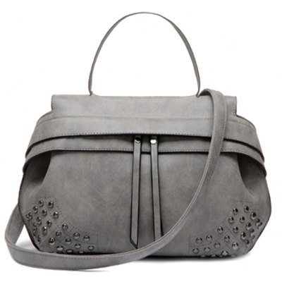 Stylish Rivet and Solid Color Design Women's Tote Bag