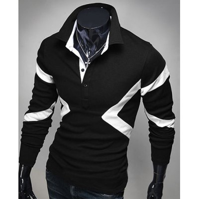 Hot Sale Turn-down Collar Color Block Triangle Spliced Slimming Long Sleeves Men's Polo T-Shirt