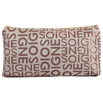 Portable PVC Leather Letter Print Zippered Square Women Storage Bag