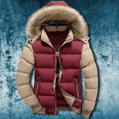 Zipper Pocket Color Splicing Rib Hem Hooded Long Sleeves Men's Thicken Padded Coat
