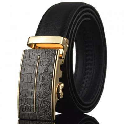 Crocodile Skin Shape and Bar Embellished Auto Buckle Belt For Men