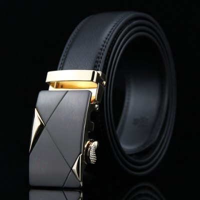 Stylish Triangle Shape Embellished Auto Buckle Wide Belt For Men