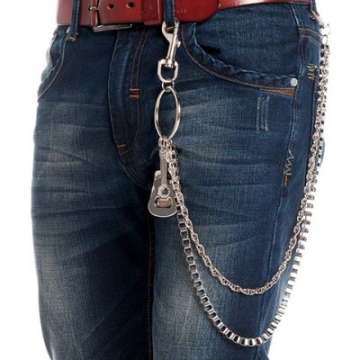 Guitar Shape Embellished Two Layered Trouser Chain For Men