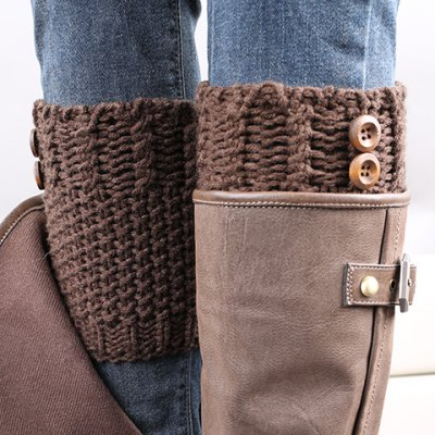 Button Embellished Crochet Knitted Boot Cuffs For Women
