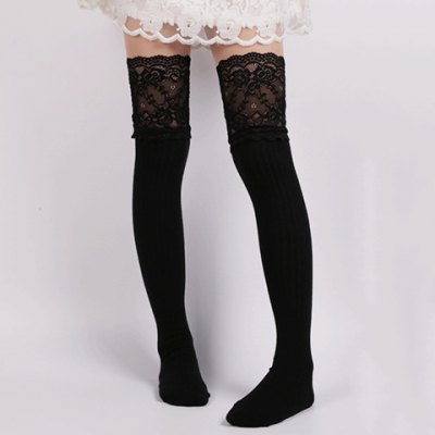 Pair of Chic Lace Edge Solid Color Knitted Stockings For Women