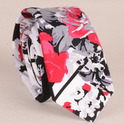Stylish Flower and Leaf Ink Pattern 6CM Width Tie For Men