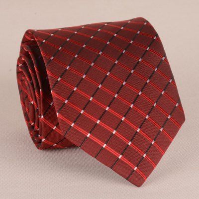 Checkered Pattern 8CM Width Wine Red Tie For Men