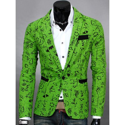 Lapel Symbol Print Design Long Sleeve Slimming Cotton Blends Men's Blazer