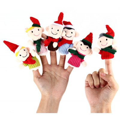 6PCS Family Finger Puppets Kids Educational Hand Toy