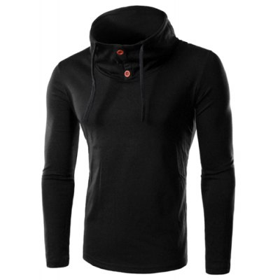 Cowl Neck Slimming Button Embellished Long Sleeve Men's T-Shirt
