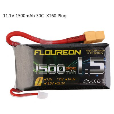 Extra Spare FLOUREON XT60 Plug 11.1V 1500mAh 30C Battery for RC Helicopter Airplane Boat Model