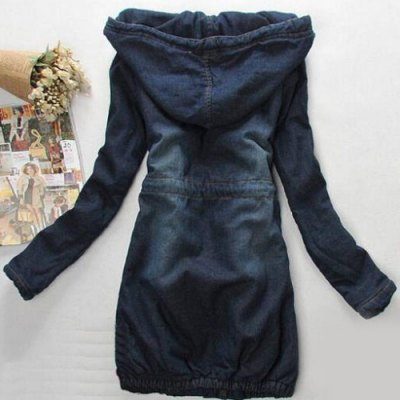 Stylish Hooded Long Sleeve Drawstring Women's Mid Length Jeans Coat