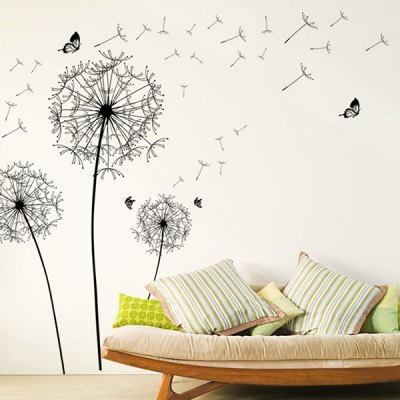 Dandelion Removeable Waterproof Wall Decals for Living Room