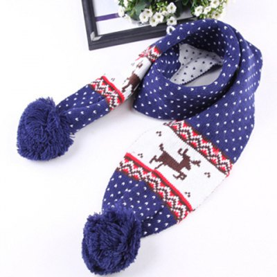 Chic Woolen Yarn Ball Pendant Christmas Deer Pattern Warmth Scarf For Kids
