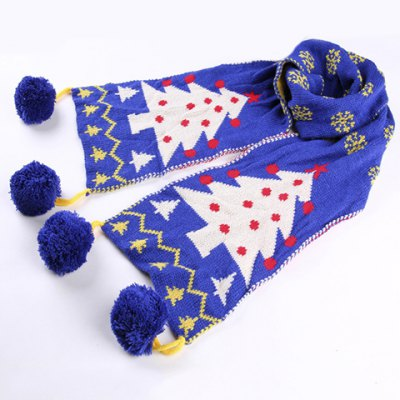 Chic Woolen Yarn Balls Pendant Christmas Tree Pattern Warmth Scarf For Kids