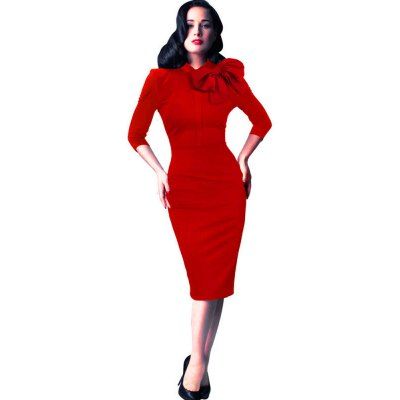 Large Butterfly Collar 3/4 Length Sleeve Sleeve Slim Package Hip Stretch Dress