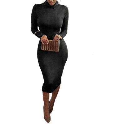 Sexy Club Party Women Long Sleeve Solid Color Bodycon Dress