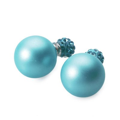Pair of Pure Color Round Faux Pearl Stud Earrings for Women