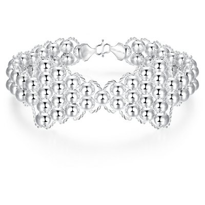 Fashion Women Bracelet Silver Plated Bowknot Bead H401