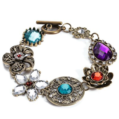 Women Retro Style Floral Spliced Alloy Hollow Out Bracelet