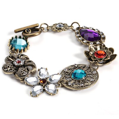 Women Old Classical Style Floral Spliced Alloy Hollow Out Bracelet
