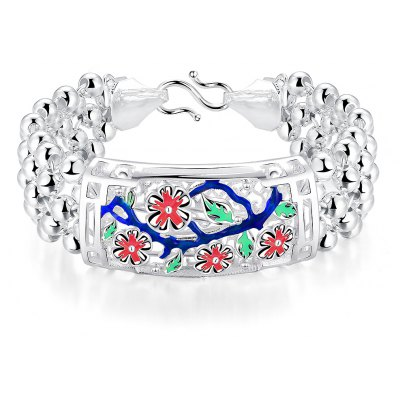 Classy Women Bracelet  Silver Plated Carving H393-A