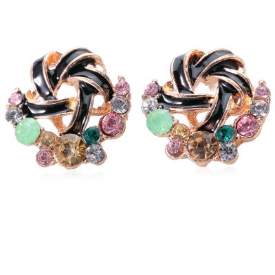 Pair of Sweet Multi Color Hollow Out Stud Earrings for Ladies
