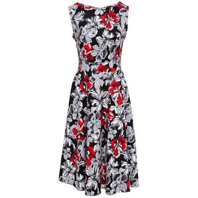 Old Classical Style Round Collar Sleeveless Floral Print A-Line Pleated Women Pin Up Dress