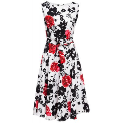 Old Classical Style Round Collar Sleeveless Floral Print A-Line Pleated Women Midi Dress