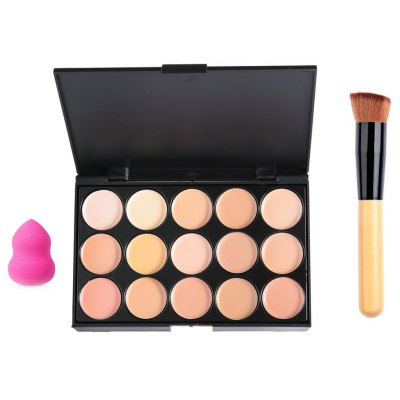 Professional 15 Color Concealer Makeup Palette with Powder Puff Brush