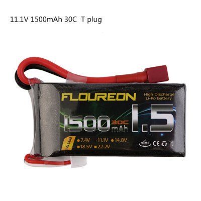 Extra Spare FLOUREON T Plug 11.1V 1500mAh 30C Battery for RC Helicopter Airplane Boat Model