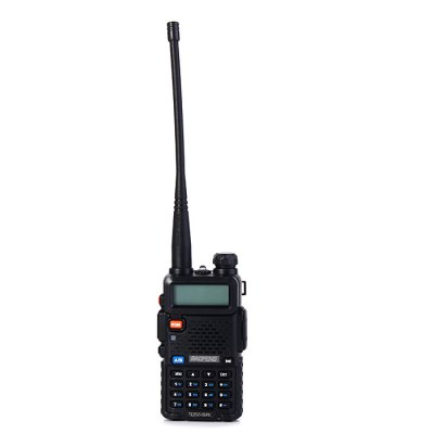 BAOFENG UV-5R UHF / VHF Walkie TalkieWalkie Talkies<br>BAOFENG UV-5R UHF / VHF Walkie Talkie<br><br>Adjacent Channel Power: 65dB (W), 55dB (N)<br>Adjacent Channel Selectivity (wide/narrow): More than 65dB (W), More than 55dB (N)<br>Antenna Impedance : 50ohm<br>Audio Distortion: 5 percent<br>Audio Power: 1W<br>Brand: Baofeng<br>Channels: 120 to 499 Channel<br>CTCSS/CTTCS Frequency Deviation (broadband/narrowband): 0.7 +/- 0.1KHz (W), 0.4 +/- 0.1KHz (N)<br>Feature: Long-lasting Battery Life<br>Frequency Bands: UHF<br>Frequency Stability : +/- 2.5 PPM<br>Intermodulation (broadband/narrowband): More than 55dB (N), More than 65dB (W)<br>Main Functions : Busy Channel Lockout (BCL), CTCSS/DCS, PC Programmable, VOX, Time-Out Timer (TOT)<br>Maximum Frequency Deviation (broadband/narrowband): Less than 5KHz (W), Less than 2.5KHz (N)<br>Model Number: UV - 5R<br>Modulation Sensitivity: 8 - 12mV<br>Modulation Type: FM (F3E)<br>Output Power (high/low): 5W/1 W (VHF), 4W/1W (UHF)<br>Package Contents: 1 x BAOFENG UV-5R Walkie Talkie, 1 x Antenna, 1 x 7.4V 1800mAh Lithium Battery Pack, 1 x Lithium Battery Charger, 1 x Power Adapter, 1 x Belt Clip, 1 x Headphone, 1 x Lanyard, 1 x English User Manual<br>Package Dimension: 18.50 x 12.00 x 10.50 cm / 7.28 x 4.72 x 4.13 inches<br>Package weight: 0.490 kg<br>Product Dimension: 11.00 x 5.80 x 3.20 cm / 4.33 x 2.28 x 1.26 inches<br>Product weight: 0.108 kg<br>Receiveing Sensitivity (broadband/narrowband): Less than 0.20 micro voltage (12dB SINAD)<br>Special function: Priority Channel Scan, Step Frequency Setting,  High Low Power Change,  Battery Save,  W / N,  Dual Frequency,  Lower Voltage Alarm,  Emergency Alarm,  DTMF,  Dual Display,  Dual Band,  PTT-ID,  Reporting Number Command,  1750HZ Relay Forwarding Confirmed<br>Spurious Power: Less than 7.5 micro watt