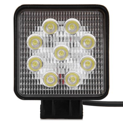 DY6027 27W Square Work Light FloodlightCar Headlights<br>DY6027 27W Square Work Light Floodlight<br><br>Apply lamp position : External Lights<br>Connector: Cable Connector<br>Emitting color: White<br>Feature: Easy to use, Low Power Consumption<br>LED/Bulb quantity: 9pcs<br>Lumens: 2160LM<br>Material: Plastic, Metal<br>Model: DY6027<br>Package Contents: 1 x DY6027 27W Square Floodlight, 1 x Bracket, 1 x Long Screw, 1 x Short Screw, 2 x Nut, 2 x O-Ring<br>Package size (L x W x H): 16.00 x 14.00 x 8.00 cm / 6.3 x 5.51 x 3.15 inches<br>Package weight: 0.620 kg<br>Power: 27W<br>Product size (L x W x H): 13.20 x 10.70 x 6.00 cm / 5.2 x 4.21 x 2.36 inches<br>Product weight: 0.458 kg<br>Type: Work Light<br>Type of lamp-house : LED<br>Voltage: 10V-30V