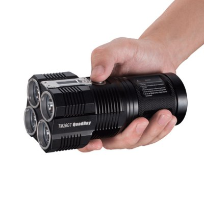 Nitecore TM26GT Cree XP L HI V3 3500Lm LED FlashlightLED Flashlights<br>Nitecore TM26GT Cree XP L HI V3 3500Lm LED Flashlight<br><br>Available Light Color: White<br>Battery Included or Not: No<br>Battery Quantity: 4 x 18650 / 8 x CR123A battery (not included)<br>Battery Type: CR123A, 18650<br>Beam Distance: 701-800m<br>Body Material: Aerospace-grade Aluminum Alloy<br>Brand: Nitecore<br>Emitters: Cree XP-L HI<br>Emitters Quantity: 4<br>Feature: Screen<br>Flashlight Processing Technology: Aerospace Grade Aluminum Body with Anti Scratching Type III Hard Anodization<br>Flashlight size: Full Size<br>Flashlight Type: Handheld<br>Function: Military and Tactical, Walking, Search, Rescue, Police, Night Riding, Camping, EDC, Exploring, Hiking, Law Enforcement, Hunting, Household Use<br>Impact Resistance: 1.5M<br>Lens: Toughened Ultra-clear Glass Lens with Anti-reflective Coating<br>Light color: White light<br>Light Modes: High,Location beacon,Low,Mid,SOS,Strobe,Turbo,Ultra low<br>Lumens Range: &gt;3000 Lumens<br>Luminous Flux: 3500Lm<br>Luminous Intensity: 124000cd<br>Mode: 8(Turbo - High - Mid - Low - Ultra Low - SOS - Strobe - Location Beacon)<br>Model: TM26GT<br>Package Contents: 1 x Nitecore TM26GT Flashlight, 1 x Holster, 1 x Lanyard, 1 x 100-240V AC Charger<br>Package size (L x W x H): 16.00 x 8.00 x 8.00 cm / 6.3 x 3.15 x 3.15 inches<br>Package weight: 0.7580 kg<br>Power Source: AC Charger,Battery<br>Product size (L x W x H): 14.20 x 6.80 x 6.80 cm / 5.59 x 2.68 x 2.68 inches<br>Product weight: 0.4420 kg<br>Rechargeable: Yes<br>Reflector: Aluminum Smooth Reflector<br>Waterproof Standard: IPX-8 Standard Waterproof (Underwater 2m)