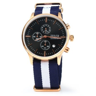 JEDIR 2011G Male Quartz WatchMens Watches<br>JEDIR 2011G Male Quartz Watch<br><br>Band material: Canvas<br>Brand: JEDIR<br>Case material: Stainless Steel<br>Clasp type: Pin buckle<br>Display type: Analog<br>Movement type: Quartz watch<br>Package Contents: 1 x JEDIR 2011G Watch<br>Package size (L x W x H): 25 x 5.2 x 2.2 cm / 9.83 x 2.04 x 0.86 inches<br>Package weight: 0.11 kg<br>Product size (L x W x H): 24 x 4.2 x 1.2 cm / 9.43 x 1.65 x 0.47 inches<br>Product weight: 0.060 kg<br>Shape of the dial: Round<br>Special features: Moving small three stitches, Date<br>The band width: 2.0 cm / 0.79 inches<br>The dial diameter: 4.2 cm / .65 inches<br>The dial thickness: 1.2 cm / 0.47 inches<br>Watch color: Black, White, Red and Black, Red and White<br>Watch style: Casual<br>Watches categories: Male table<br>Water resistance : 30 meters<br>Wearable length: 16 - 21 cm / 6.3 - 8.27 inches